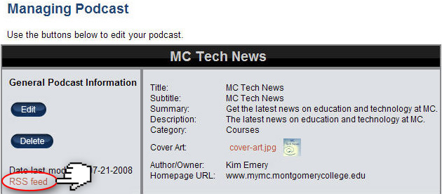 Managing Podcast page on MC Podcast Builder