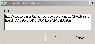 Subscribe to Podcast dialog box